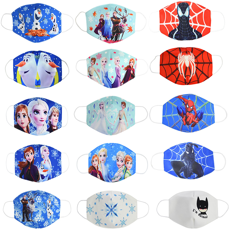 Disney Frozen Spiderman Mask Cartoon Anti-haze Mouth Face Mask Girls Reusable Washable Dust-proof Protection Kids Cosplay Masks