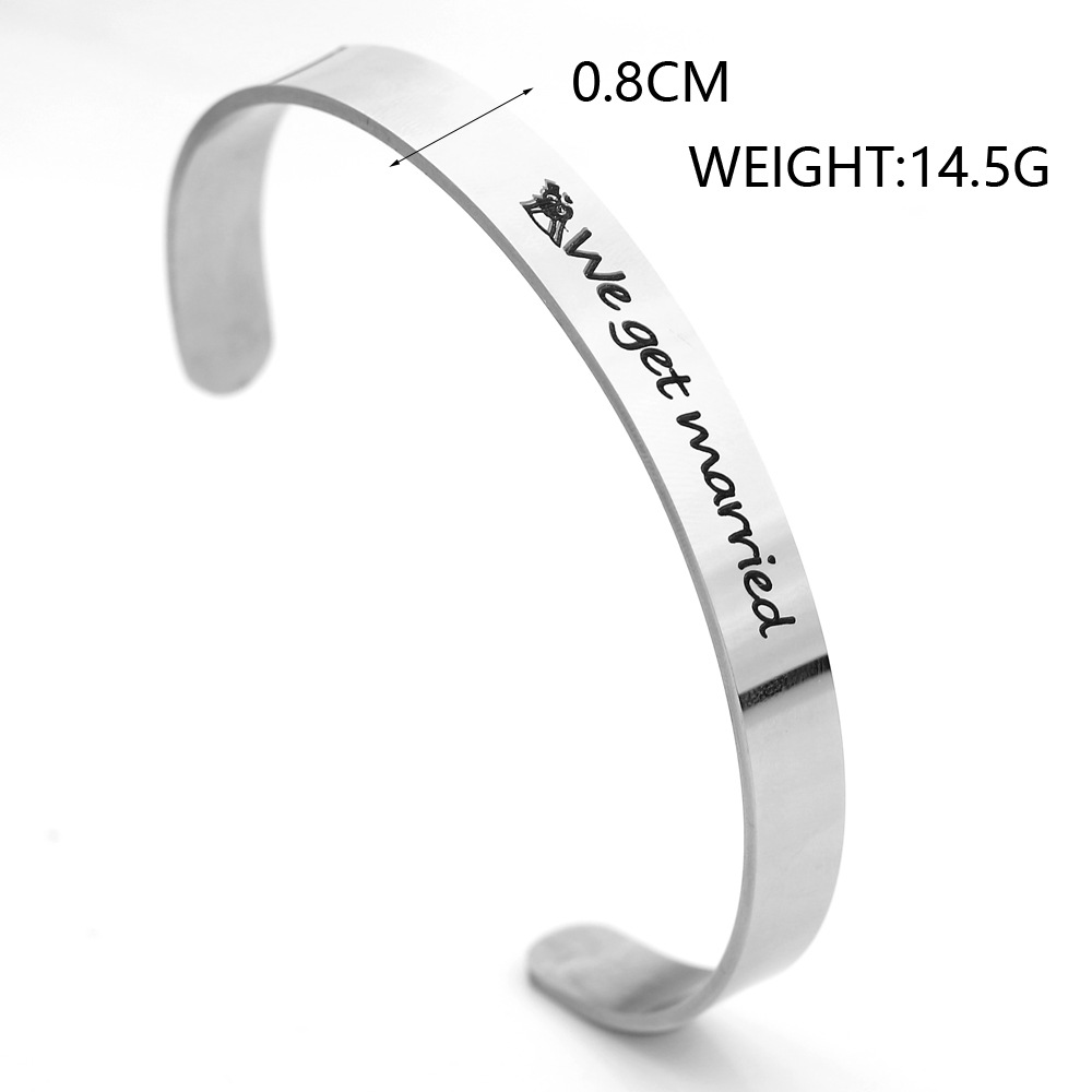 HIYONG Personalized Gold Silver Bracelets Bangles for Women Custom Engraved Cuff Bracelet Bangle Hand Armband Jewelry for Girls in Bangles from Jewelry Accessories