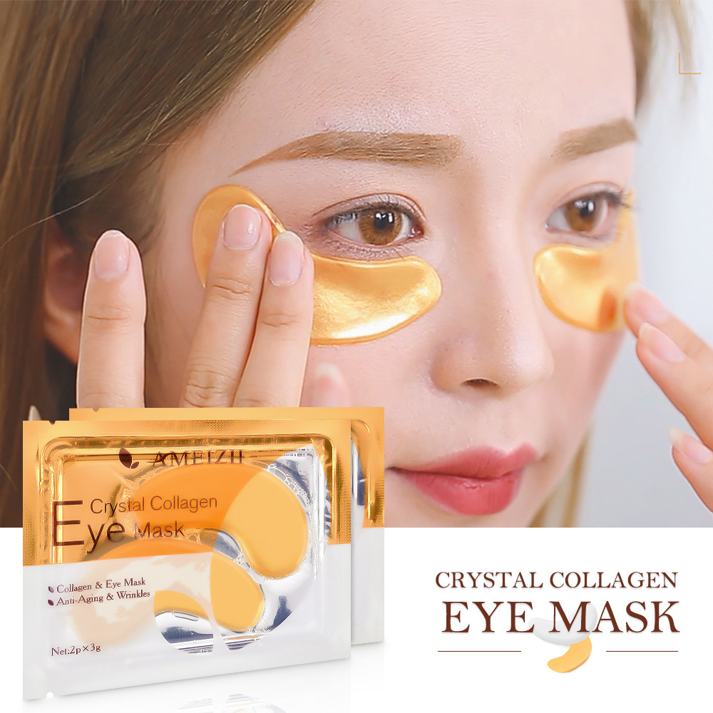 2Pcs=1Pair 24K Gold Crystal Collagen Eye Mask Eye Patches Dark Circles Remover Anti-Aging Wrinkle Eye Care Gel Eye Pads TSLM2(China)