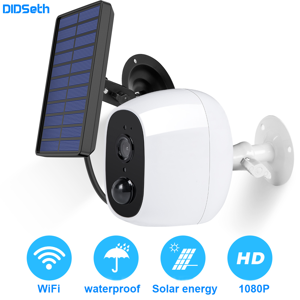 DIDseth 1080P Outdoor Solar Camera Wifi Wireless Rechargeable Battery IP Camera PIR Motion Sensor Security Video Surveillance