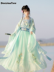 2020 chinese style woman hanfu fairy elegant dance costumes retro water sleeve chiffon embroidery dress han dynasty outfits
