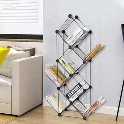 Grid Bookshelf Tree Floor Creative Study Bookcase Shaped Book Rack Multi-grid Storage Cabinet Abrasion Iron Display Book Horder