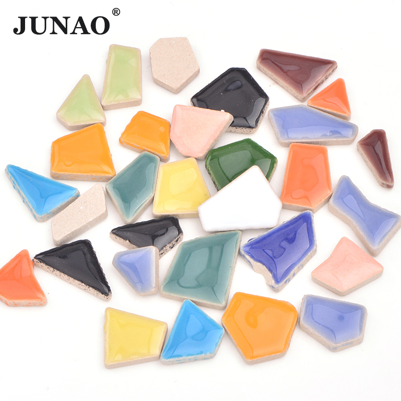 JUNAO Mix Color Glass Mosaic Tile Regular Mosaic Stones Glass Pebbles Tile Sticker For DIY Wall Crafts Decoration Materials
