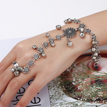 Fashion Chain Bracelet Drop Silver Gold Color Bell Tassel Flower Women Metal Hand Harness Slave Adjustable Finger Ring