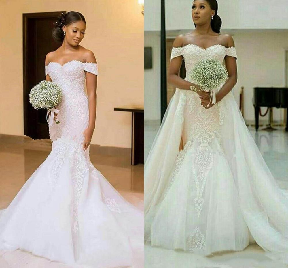 YiMinpwp Mermaid Wedding Dresses With Detachable Train Off Shoulder Lace Up Back Appliques Sweep Train Chapel Bridal Gowns