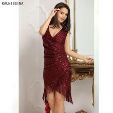 Блестками пикантные вечерние платье для женщин короткий ночной