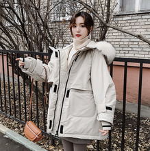 купить Down Jacket With Large Fur Collar Girls 2019 Winter Jacket Thick Long Coat Women Hooded Down Parka Waterproof Woman Coat Clothe дешево
