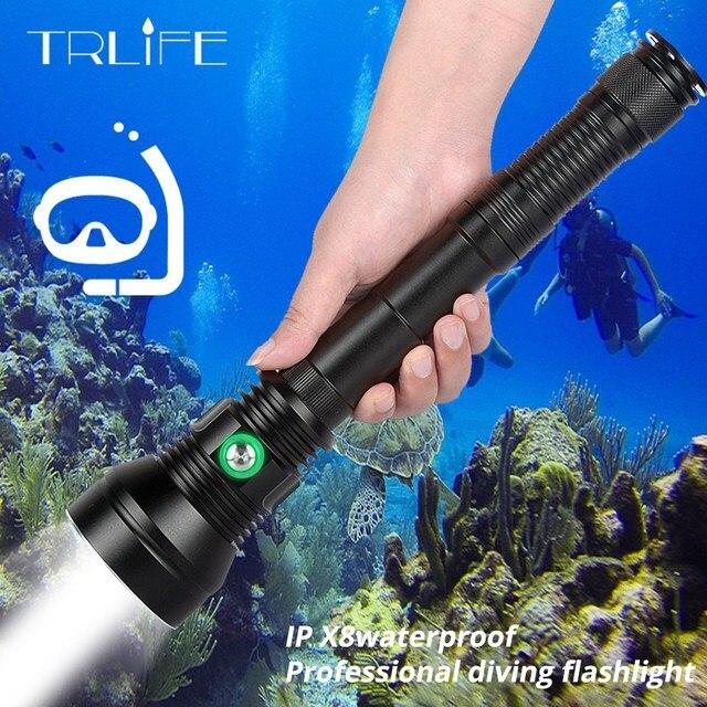 Alta potência xhp70.2 profissional poderosa ip8 mergulho lanterna subaquática 200 m à prova dwaterproof água mergulho tocha luz uso da lâmpada 26650