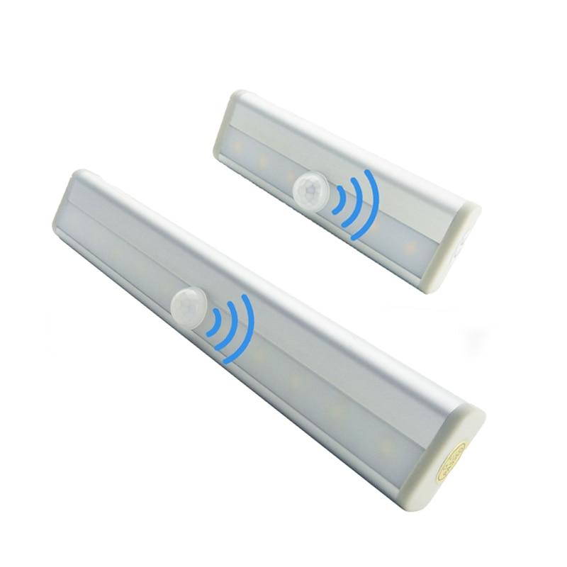 PIR Motion Sensor LED Under Cabinet Light 6/10 LEDs Auto On/Off LED Nilght Light For Closet Wardrobe Armario Kitchen Bedroom