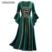UIDEAZONE Vintage Gothic Bandage Women Dress Flare Sleeve Fl