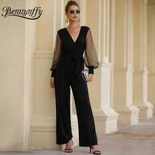 Benuynffy Office Lady Elegant Sexy V-neck Belted Jumpsuit Long Women Black Mesh