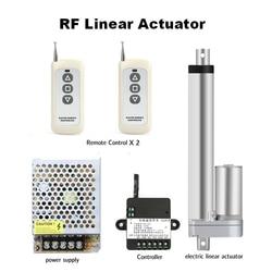 Actionneur linéaire 12V + 2 pièces, télécommande RF + alimentation 50mm, 100mm, 150mm, 200mm, course 1000n, engrenage métallique, moteur linéaire