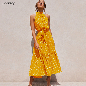 Lossky Summer Long Dress Floral Casual Beach Dresses Halter Strapless Sundress 2020 Ladies Vintage Clothes For Women Yellow