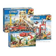 Новинка 60110 совместимая серия Legoinglys City 60216 модель пожарной станции строительный блок кирпичная игрушка для мальчика Рождественский подарок