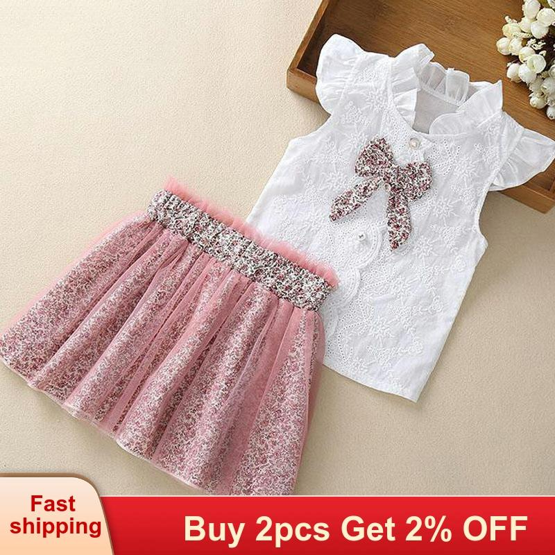 Girl Clothes Spring Summer For 3-7 Year Girl 2 Pcs Set Children Girl Clothing Outfit Set Sleeveless Floral Tee +Flower Skirts