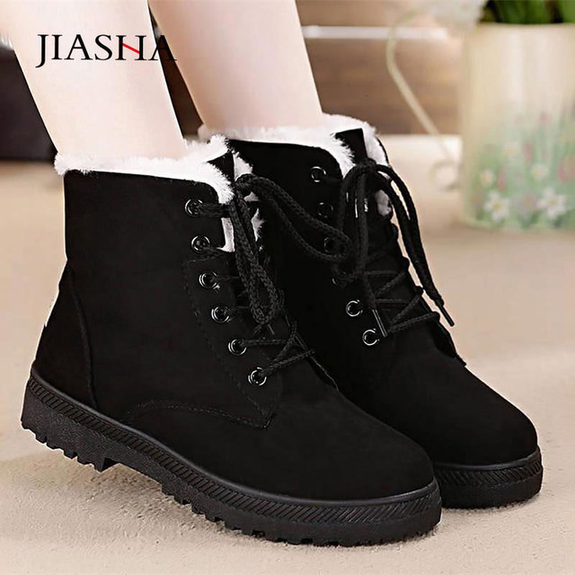 Snow boots warm fur plush Insole women winter square heels flock ankle shoes 1