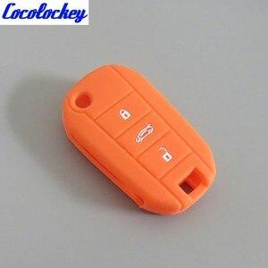 Image 5 - Cocolockeyシリコーンカバーホルダーfitプジョー508 5008シトロエンエリゼフリップリモートキーケース3ボタンのないロゴ