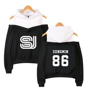 Super junior Women's Off-shoulder Sexy Girls Hoodies Sweatshirt Exclusive Kpop 2019 New Casual Autumn Cool Hoodies Sweatshirt