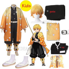 Costume de Cosplay Kimetsu no Yaiba, Anime japonais, Demon Slayer, Agatsuma Zenitsu, uniforme Kimono pour enfants, perruque de tenue d'halloween