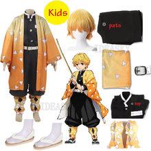 Japońskie Anime Demon Slayer Kimetsu no Yaiba Agatsuma Zenitsu przebranie na karnawał dzieci dziecko chłopiec mundurek Kimono Halloween strój peruka