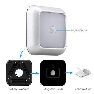 Image 4 - 6 светодиодов, PIR датчик движения, ночные светильники, светодиодный шкаф, ночник, батарея, сенсор, освещение для шкафа, лестницы, прихожей, дома, спальни