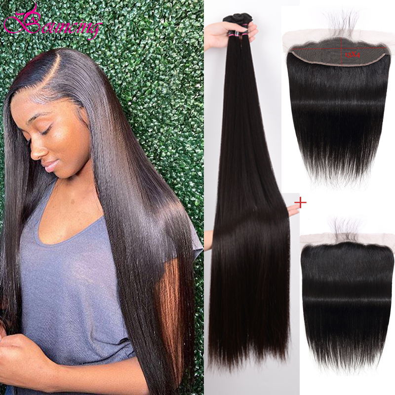 Bouncing Straight Human Hair Bundles With Frontal 30 32 34 40Inch Peruvian Remy Hair Natural Color 3 Bundles With 13x4 Closure