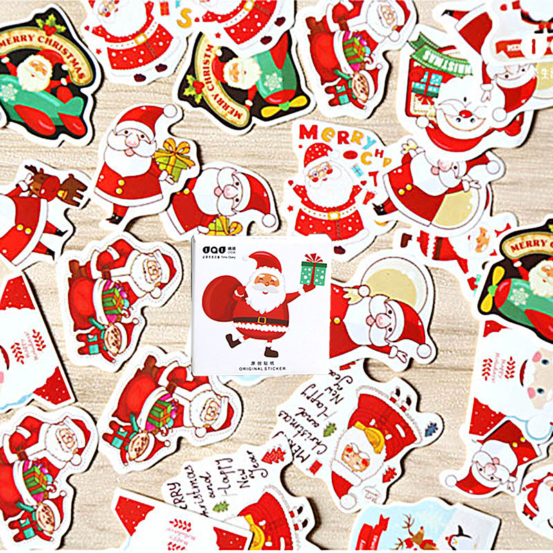 48 Pcs/Box Cute Christmas Stickers Kawaii Santa Claus Sealing Stickers For DIY Decoration Scrapbooking Diary Stationery Stickers