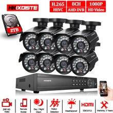 8CH 1080P HDMI DVR 1080P HD/açık güvenlik kamera sistemi 8 kanal CCTV DVR kiti 2.0MP AHD kamera sistemi seti 2TB sabit disk