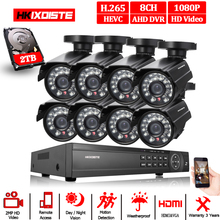 8CH 1080P wideorejestrator hdmi 1080P HD w/bezpieczeństwo zewnętrzne system kamer 8 kanałowy CCTV zestaw dvr 2.0MP AHD system kamer zestaw 2TB dysk twardy