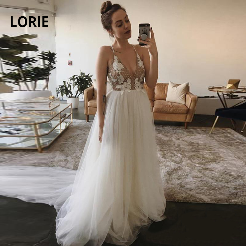 LORIE Spaghetti Strap Beach Wedding Dresses Soft Tulle Backless Boho Bridal Gowns Sleeveless A-line Princess Bride Party Dress