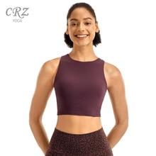 CRZ YOGA Women's High Neck Longline Sports Bra Racerback Crop Top Yoga Tank Top with Built in Bra white high neck crop cami top