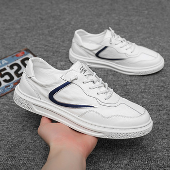 Genuine Leather Shoes Men Sneakers Breathable Canvas Mens Casual Shoes Fashion Brand Male White Shoes Thick Sole A2453 недорого