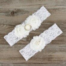 Элегантные Свадебные Подвязки эластичные кружевные подвязки ремни с бежевые стразы жемчужные цветы для невесты подружки невесты особые случаи