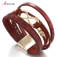Amorcome Red Infinity Leather Bracelets for Women 2021 Fashion 8 Cross Jewelry Multilayer
