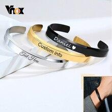 Vnox Simple 4/8MM Wide Flat C Shaped Cuff Bangle Bracelets for Men Women Free Personalize