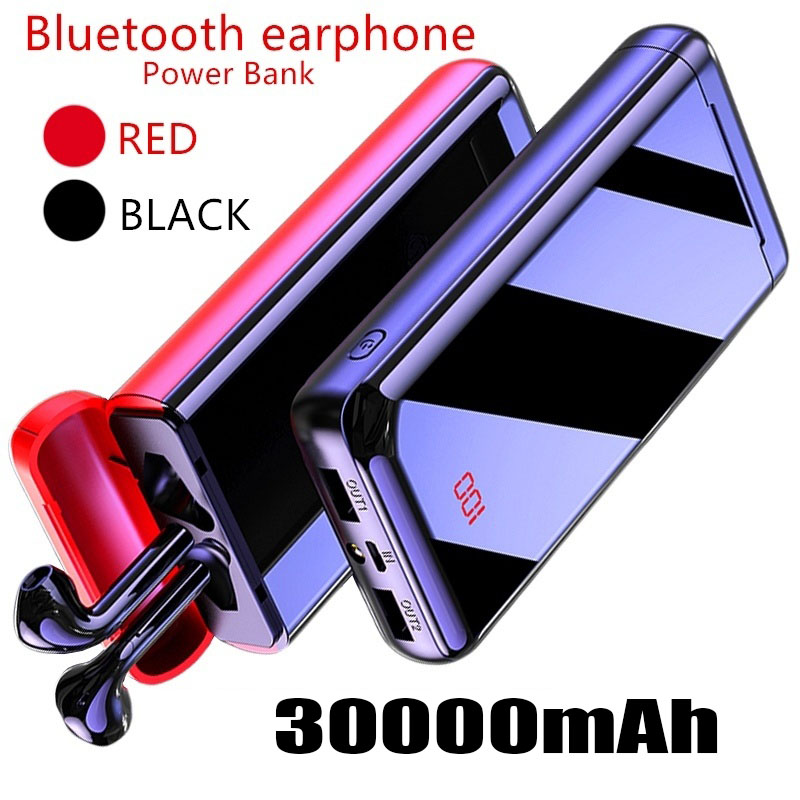 Bluetooth HeadsetPower Bank 30000mAh Powerbank External Battery Portable Fast Charger For All Smartphone Charger Bank