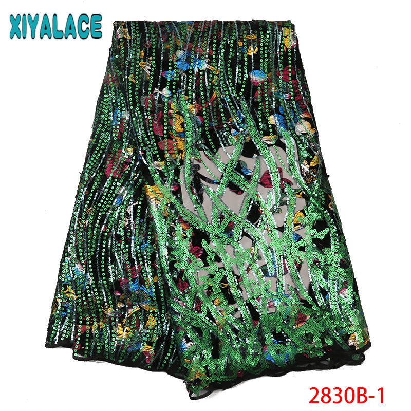 Flocking Velvet Sequins Lace Fabric,French Tulle Laces Fabrics,Nigeria Dresses For Women KS2830B-1