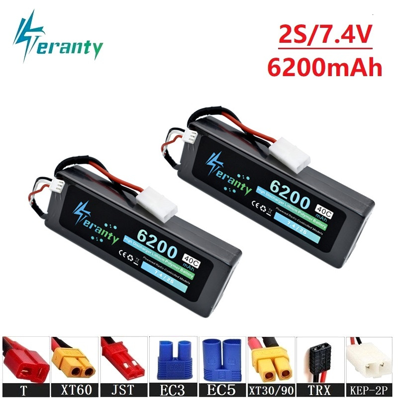 2s 6200mAh 7.4v Lipo Battery For RC Drone Helicopter Car Boat Quadcopter Parts T/XT60 Plug 40C 7.4v Lithium Polymer Battery(China)