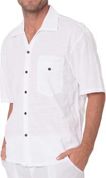 Novedad de 2020, Camisa de algodón blanco para hombre, camisa informal ligera de manga corta de algodón con cuello redondo informal para la playa
