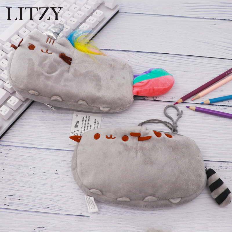 Cartoon Cat Pencil Case For Girls Kawai Pencil Bag Large Capacity Plush PencilCase School Office Supplie Stationery Gifts