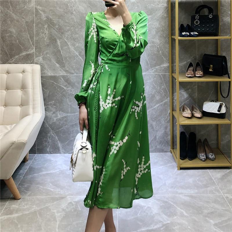 Free ShipÁDress Drawstring Green Lantern-Sleeves Gathered-Wrap Holiday Print Autumn V-Neck 19 Tie-Waist