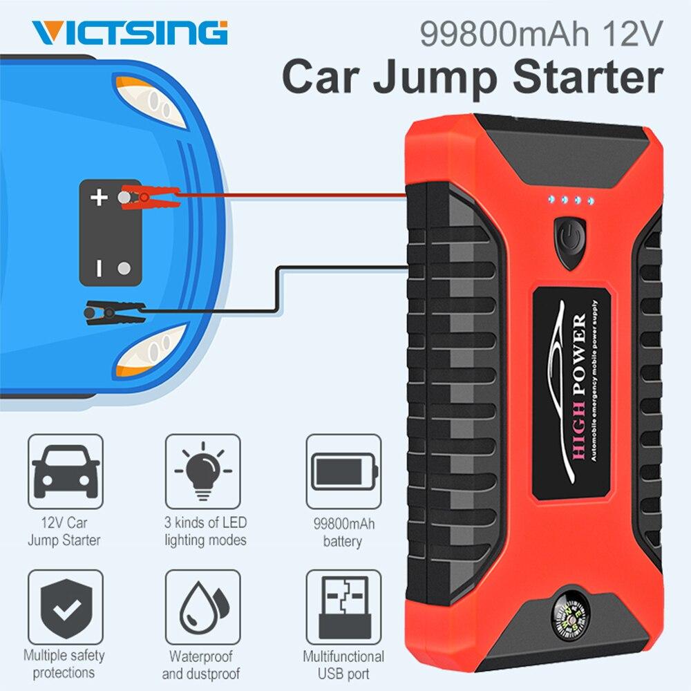 Victsing 99800 mah arranque do carro saltar de emergência banco potência 12 v grande bateria carregador rápido led luz da tocha moto carro starter
