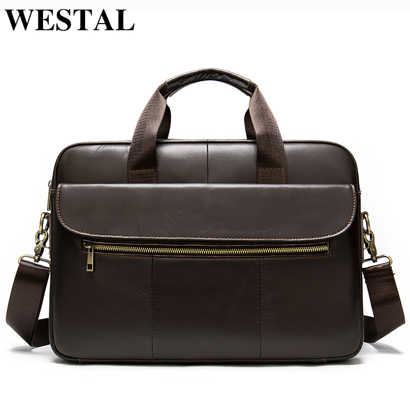 WESTAL Men's Genuine Leather Bag Men Briefcase Leather Office Bags For Men Messenger Bags For Laptop Bags Business Briefcase Bag