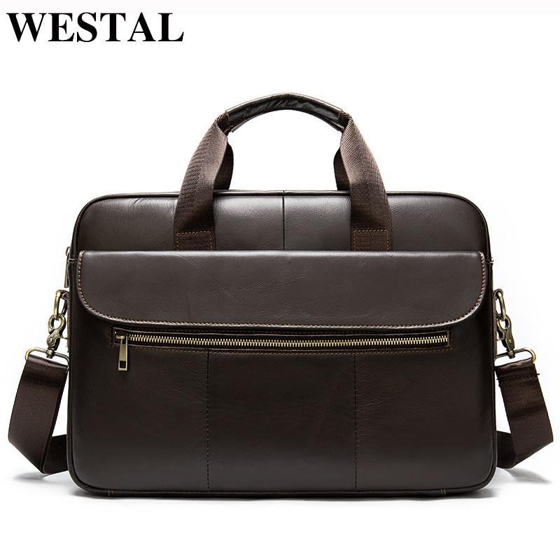 WESTAL Men's Genuine Leather Bag Men Briefcase Leather Office Bags For Men Messenger Bags For Laptop Bags Business Briefcase Bag