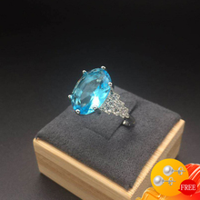 Trendy Rings Silver 925 Jewelry Oval Shape Sapphire Zircon Gemstone Finger Ring Ornament for Women Wedding Party Gift Wholesale