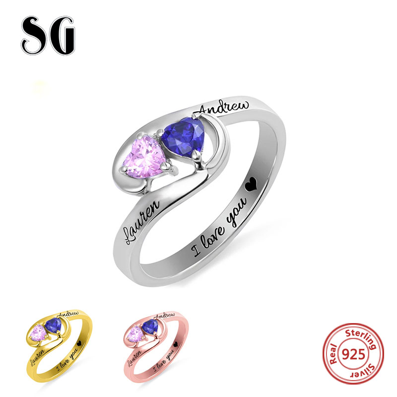 100% 925 Sterling Silver Custom engraved Name finger Rings Double birthstone Stacking Rings for Women Personalized Jewelry