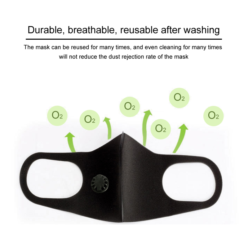 Unisex Anti Dust Mask PM2.5 Pollution Face Mouth Respirator Black Breathable Valve Mask Filter Anti Fog Mouth Cover Fast Ship