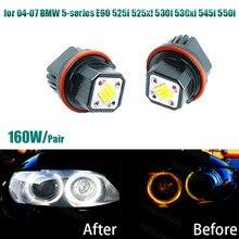 6000K белый 160W высокая мощность ангельские глазки светодиодный кольцевой маркер для 04-07 BMW 5-series E60 525i 525xi 530i 530xi 545i 550i
