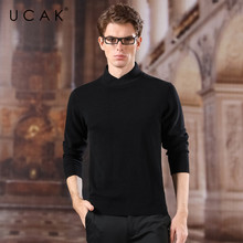 UCAK Brand Turtleneck Sweater Men 2020 Fashion Trend  New Arrival Spring Casual Striped Pure Merino Wool Homme Pullover U3159