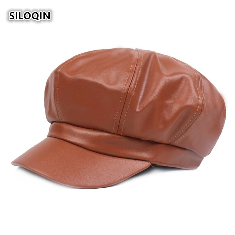 SILOQIN Winter Trend Woman's Leather Newsboy Hat Snapback Adjustable Fashion Simple Octagonal Cap Leisure Tourism Hats For Women